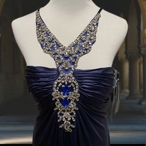 Amelia Couture Navy Embellished Formal Gown 8